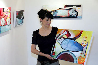 Nell Collins, artist at the opening of her exhibition