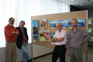 Adjudicators, Bob Lynn, Paddy Lennon and Jim Doolan with Tony Robinson of Pigyard Gallery