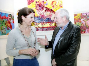 Lucy Doyle and Larry Masterson at the exhibition opening