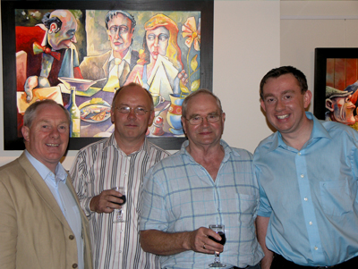 Michael Ring T.D., Artist Pat Tracey, retired editor Mayo News Martin Curry and James Laffey editor Western People at the opening