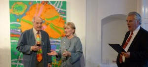 Albert Irvin, Antoinette Murphy and Eoin McGonigle (Chairman of IMMA who opened the show).