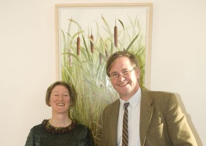 Yanny Petters and Dr. Matthew Jebb at the exhibition opening.
