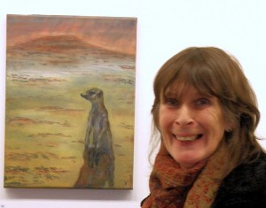 "Jacqui Hersey with her ""Meercat"" painting."