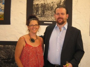 Curator Mandy Harwood and Thomas Delohery at the Kidogo Art Gallery