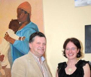 John O'Mahony with Phyllis Harpur, proprietor