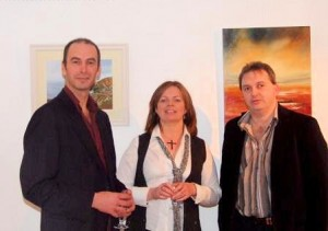 Dr. Niall Gregory, Ann Brennan (artist) and Jim Brennan at the exhibition opening