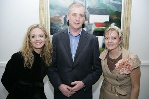 Deborah & Denise Donnelly with Padraig McCaul at the exhibition opening