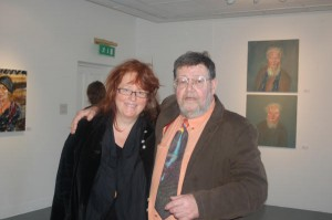 Singer Mary Coughlan with Barrie Cooke at the exhibition opening