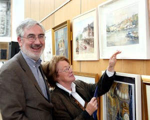 Exhibiting artist Brid Clarke is pictured with husband Pat Clarke