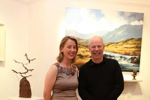 Lorraine Brett, Manger of Gormleys Fine Art gallery in Dublin, and artist Peter Monaghan at the exhibition opening