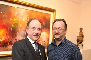 Gallery owner Oliver Gormley and Liam Madden at the exhibition opening