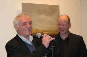Eamon Dunphy who opened the exhibition with artist Ken Browne.