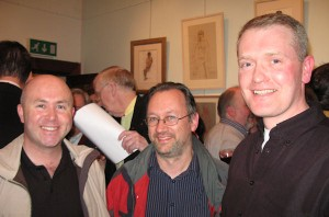 artist Tom J. Byrne, Liam Madden and artist Brian Gallagher at the exhibition opening.