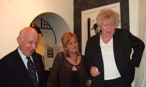 Giles Baily of the Arts Club committee, Artist Margo Banks and Nell McCafferty (standing on a stool!)Giles Baily of the Arts Club committee, Artist Margo Banks and Nell McCafferty (standing on a stool!)