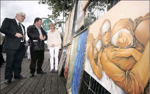Art on The Liffey Boardwalk between the Ha'penny Bridge and O'Connell Bridge