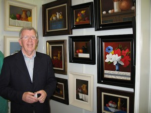 Artist Paul Kavanagh at the exhibition opening