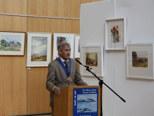 Vincent Lambe, President of the Water Colour Society of Ireland at the exhibition preview.