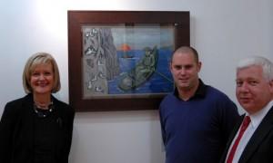 Artist Ruthie Ashenhurst, Barry Lyndsay Owner of the Lyndsay Gallery Monkstown and Paul O'Brennan