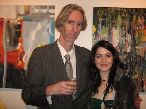 Artist Helen McNulty and Curator Tony Strickland at the opening of Cloudburst