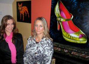 Artists / sisters Tara & Emma Barone at the exhibition opening