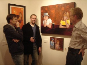 Donal O'Dea, Keith Pickett, and exhibiting artist, Frank O'Dea