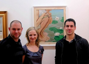 Barry Lyndsay, Katie Boyd and Douglas Ferris at the exhibition opening