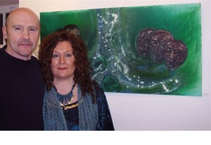Artist Barbara O'Meara and her husband John Rush at the launch