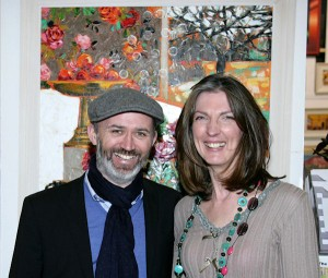 Irish comedian Tommy Tiernan with Artist Lucy Doyle at the exhibition launch