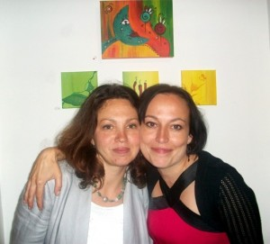 Sandra Schoene (right) at the exhibition opening.