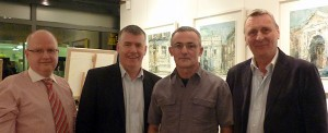 Gallery Zozimus owners Charlie Meehan & Vincent Kelly, Artist Aidan Bradley and John McGovern at the exhibition opening