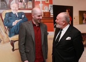 Vincent keeling, gallery owner with Senator David Norris at the exhibition opening.