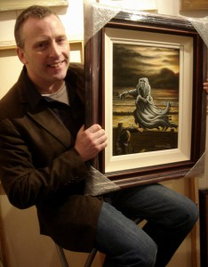 Jonathan Barry with his painting - Oh Whistle and I'll come  to you, my lad