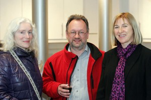 Cork Visual Artist Bernadette Cotter, Liam Madden - Irish Art Blog and Trish Hegarty, Inis Communications at the competition launch in Temple Bar.