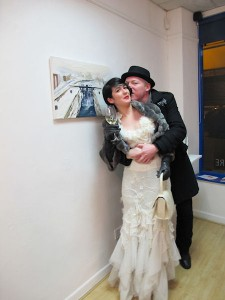 Artist Helen McNulty with jewellery designer Sean Osborne at the exhibition opening