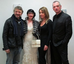 Glass sculptor Killian Schurmann, artist Helen McNulty, Sculptor Orla de Brí and artist James Hanley RHA at the exhibition opening