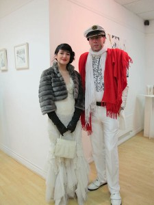 Artist Helen Mc Nulty and Derek O'Shaughnessy at the exhibition opening
