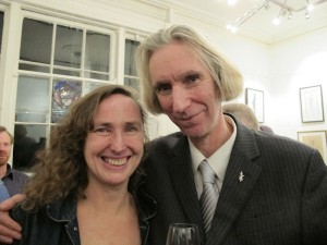 Artist Una Sealy and Curator Tony Strickland at the exhibition opening