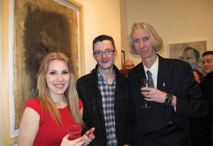 Sofia from Mad Art Gallery, artist Frank Hague and curator Tony Strickland at the exhibition opening