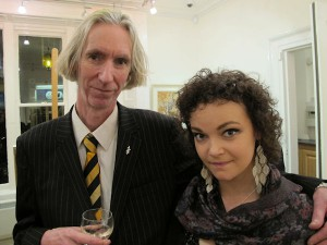 Art Curator Tony Strickland and artist Sarah Manson at the exhibition opening