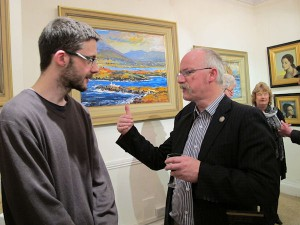 Artists Frank Hague and Andrew Manson at the exhibition opening