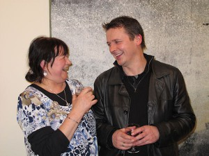 Angel Loughrey and artist Sean Cotter at the exhibition opening