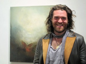 Artist Gearóid Hayes at the exhibition opening