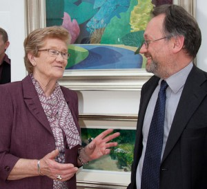 Artist Pat McGloughlin with Liam Madden, Irish Art Blog at the opening (photo Gary Rowe)