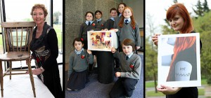 Anne McGill, the students of Lenamore National School in North Kerry and Hana Hudak winners of ARTifact (photo Conor Healy)