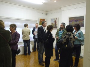 At the exhibition opening night.