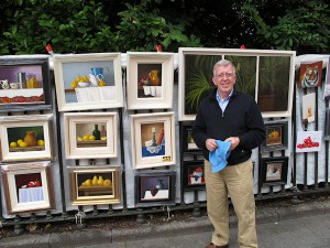 Artist Paul Kavanagh with his work