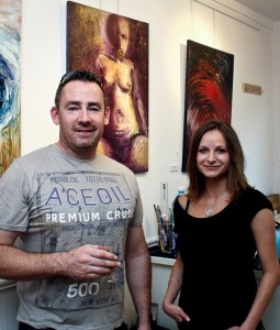Artist,  Lucie Pacovska and Dave O'Shea at the exhibition opening