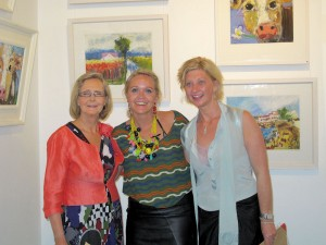 Artist Deborah Donnelly with her mother Clare O'Farrell and friend at the exhibition opening.
