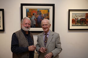 Artist Val Byrne with Eamon de Buitlear at the exhibition opening (photo Fusion Photography)