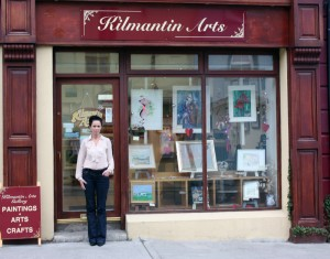 Ellen outside Kilmantin Art Gallery, Wicklow